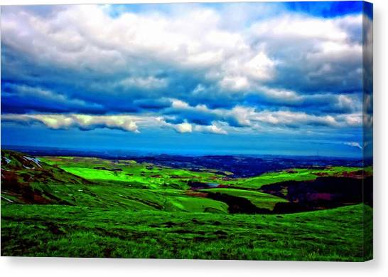 Moorland Canvas Print - A Digitally Constructed Painting Of The Yorkshire Moors by Ken Biggs