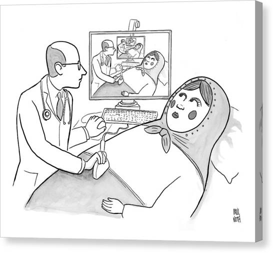 A Doctor Is Seen Giving An Sonogram To A Russian Canvas Print
