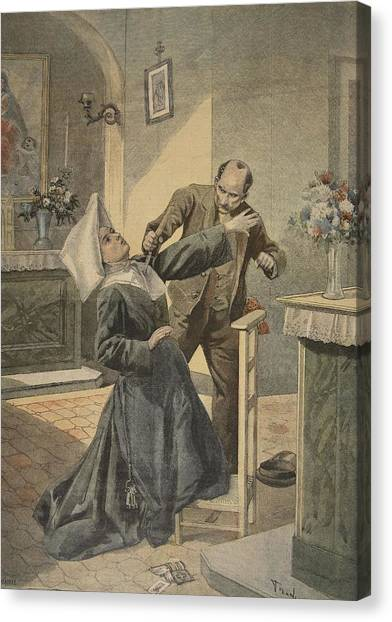 Nuns Canvas Print - A Drama In An Asylum Assassination by French School