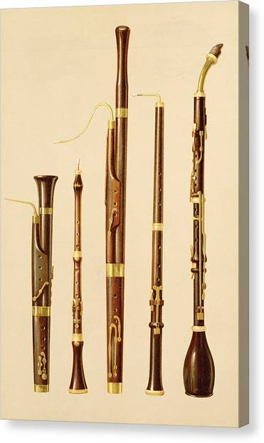 Wind Instruments Canvas Print - A Dulcian, An Oboe, A Bassoon by Alfred James Hipkins