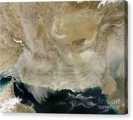 Ocean Of Emptiness Canvas Print - A Dust Storm Stretching From The Coast by Stocktrek Images