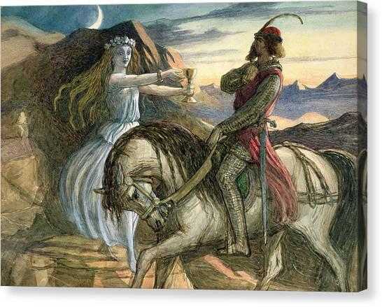 Long Hair Canvas Print - A Fairy And A Knight by Richard Doyle