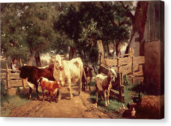 Chicken Farms Canvas Print - A Farmyard Scene by Eduard Weichberger