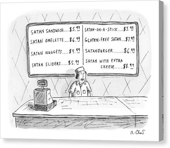 Fast Food Canvas Print - A Fast Food Employee Stands In Front Of A Menu by Roz Chast