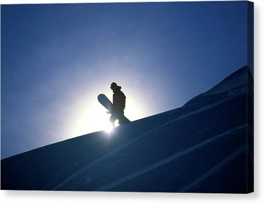 It Professional Canvas Print - A Female Snowboarder Hiking by Corey Rich
