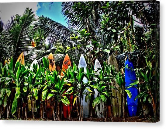 Surfboard Fence Canvas Print - A Fence In Haiku by DJ Florek