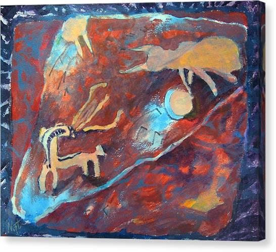 Fantasy Cave Canvas Print - A Fight by Natalya Shvetsky