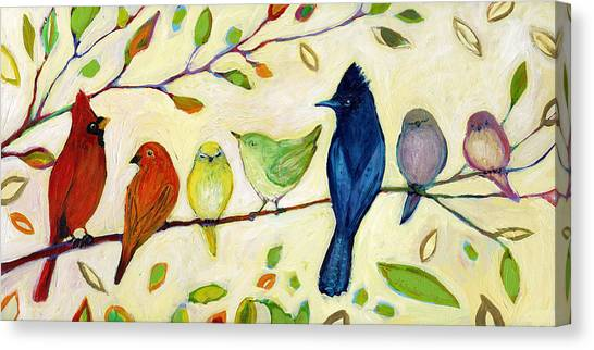 Sparrows Canvas Print - A Flock Of Many Colors by Jennifer Lommers