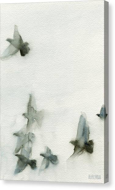 Dove Canvas Print - A Flock Of Pigeons 1 Watercolor Painting Of Birds by Beverly Brown