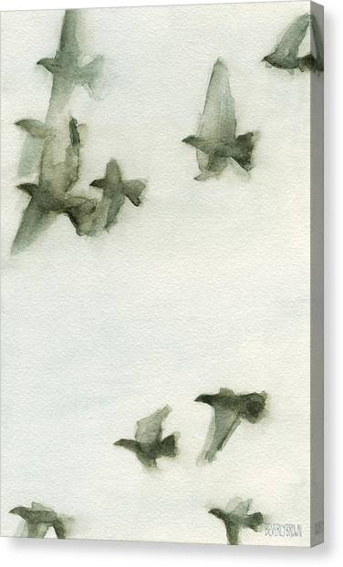 A Flock Of Pigeons 2 Watercolor Painting Of Birds Canvas Print