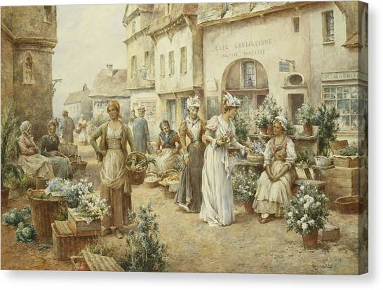 06be3db61c5 Market Stall Canvas Print - A Flower Market by Alfred Glendening Junior