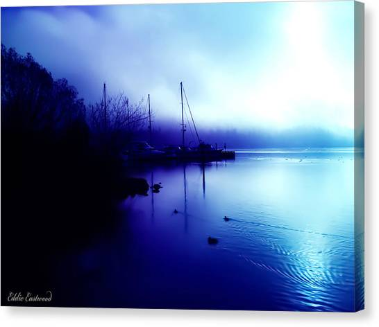 A Foggy Day At Log Boom Park In Kenmore Washington Canvas Print