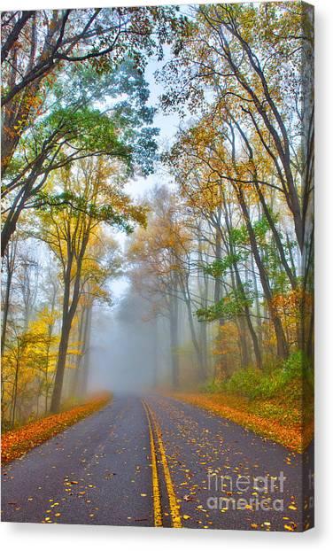 A Foggy Drive Into Autumn - Blue Ridge Parkway Canvas Print