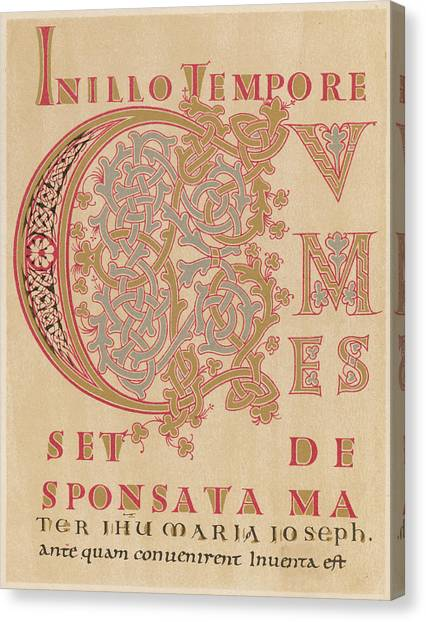 A Fragment Of Sintram's Evangelium Canvas Print by Mary Evans Picture Library
