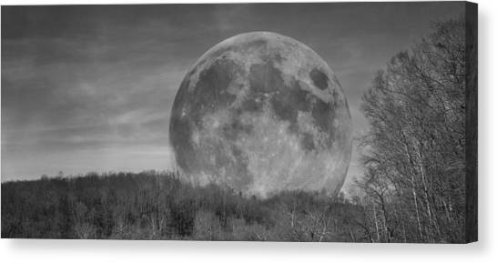 Waxing Gibbous Canvas Print - A Friend At Night by Betsy Knapp