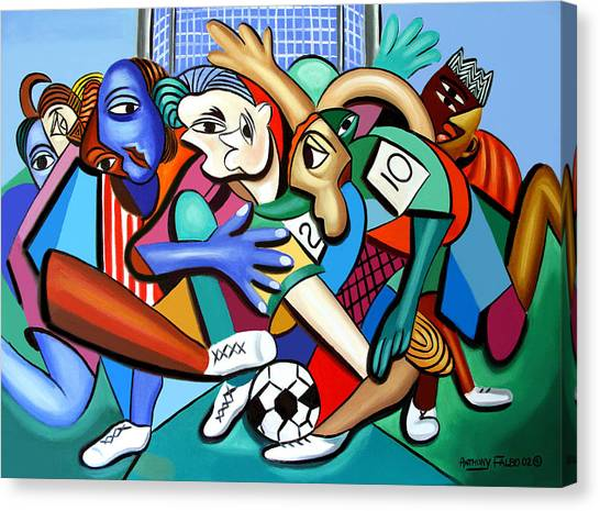 Canvas Print featuring the painting A Friendly Game Of Soccer by Anthony Falbo