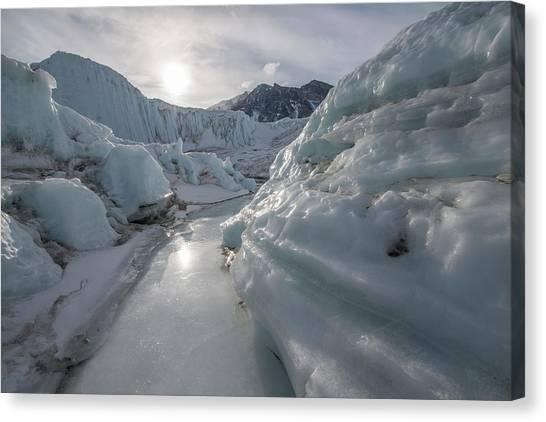Canada Glacier Canvas Print - A Frozen River On The Canada Glacier by Alasdair Turner