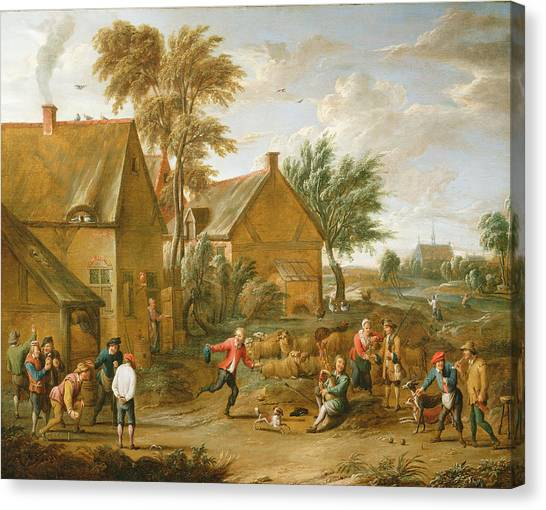 Bagpipes Canvas Print - A Game Of Bowls By A Tavern by Alexander van Bredael