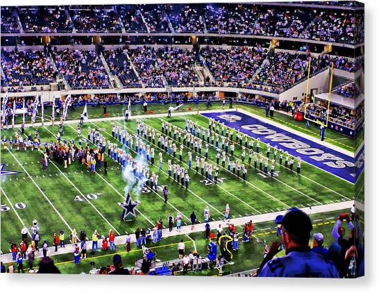 Dallas Cowboys Cheerleaders Canvas Print - A Game To Remember by Carrie OBrien Sibley