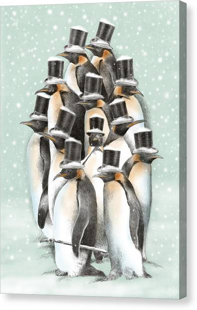 Penguins Canvas Print - A Gathering In The Snow by Eric Fan