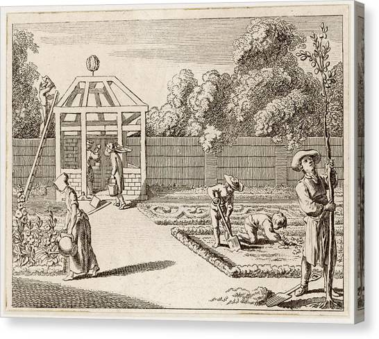 Garden Scene Canvas Print - A General Garden Scene With  People by Mary Evans Picture Library