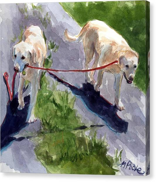 Dog Walking Canvas Print - A Gentle Lead by Molly Poole