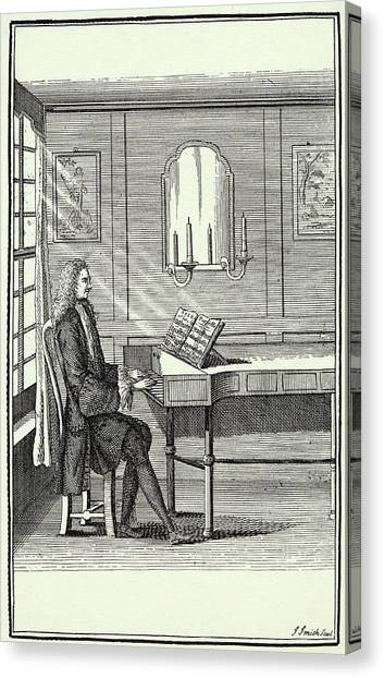 Harpsichords Canvas Print - A Gentleman Plays A Piece From  One by Mary Evans Picture Library