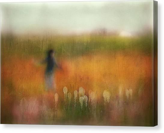 Flower Girl Canvas Print - A Girl And Bear Grass by Shenshen Dou