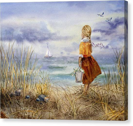 Irina Canvas Print - A Girl And The Ocean by Irina Sztukowski