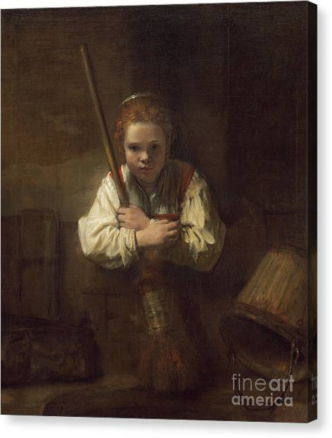 Rembrandt Canvas Print - A Girl With A Broom by Rembrandt