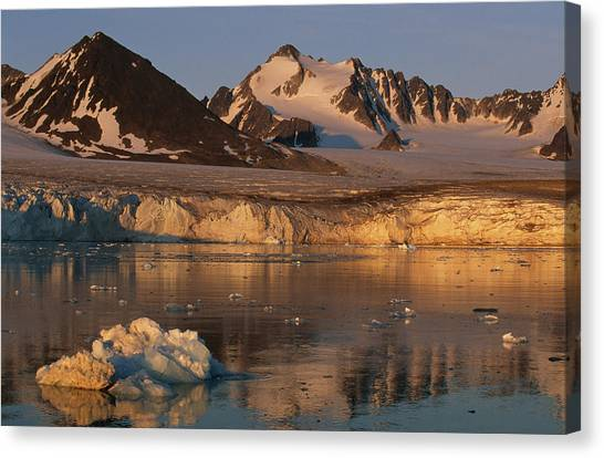 Canvas Print - A Glacier Flowing Into A Fjord by Norbert Rosing