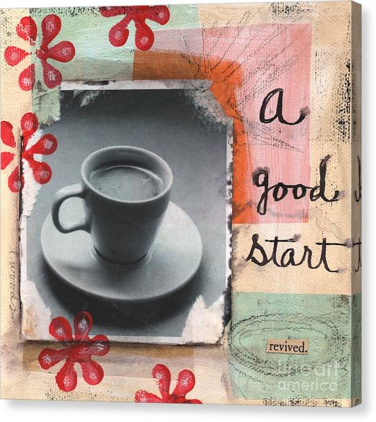 Tea Canvas Print - A Good Start by Linda Woods