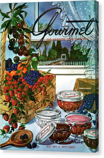 A Gourmet Cover Of A Fruit Basket Canvas Print