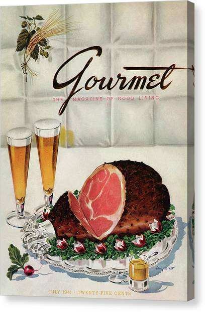 Ham Canvas Print - A Gourmet Cover Of Ham by Henry Stahlhut