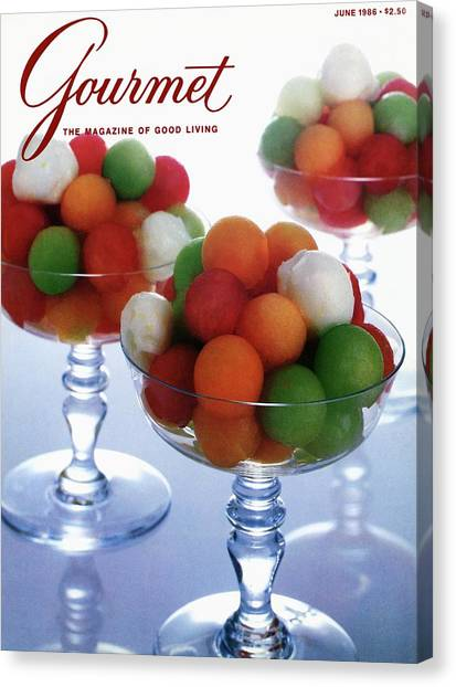 Melons Canvas Print - A Gourmet Cover Of Melon Balls by Romulo Yanes
