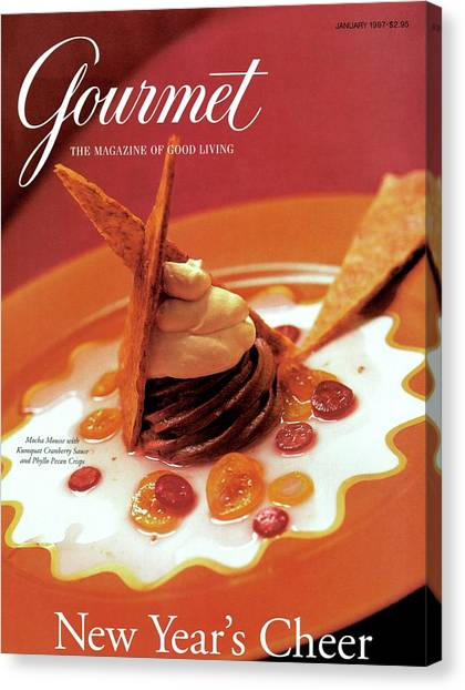 Cranberry Sauce Canvas Print - A Gourmet Cover Of Moch Mousse by Romulo Yanes