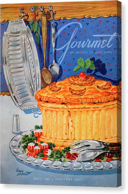 Wooden Platters Canvas Print - A Gourmet Cover Of Pate En Croute by Henry Stahlhut