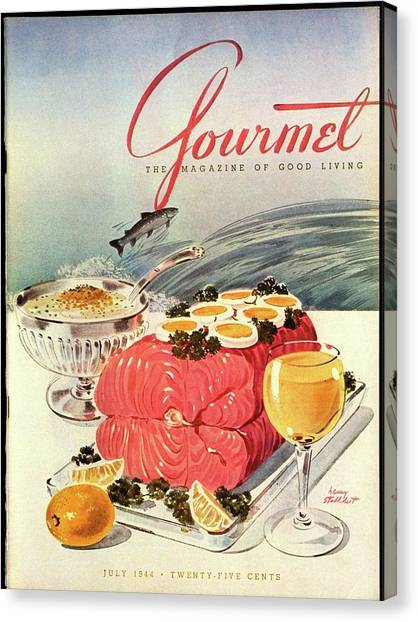 A Gourmet Cover Of Poached Salmon Canvas Print