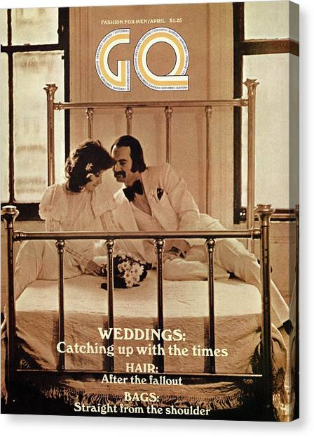 A Gq Cover Of A Bridal Couple Canvas Print by Arthur Elgort