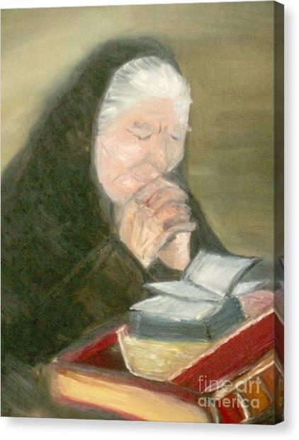 A Grandmother's Prayer Canvas Print by Helena Bebirian