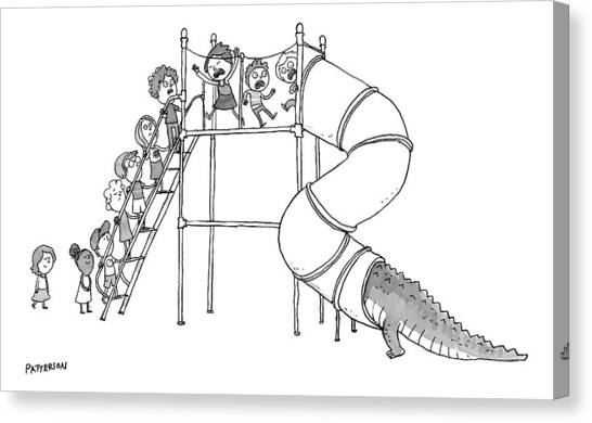 Crocodiles Canvas Print - A Group Of Children Are Lined Up To Go by Jason Patterson