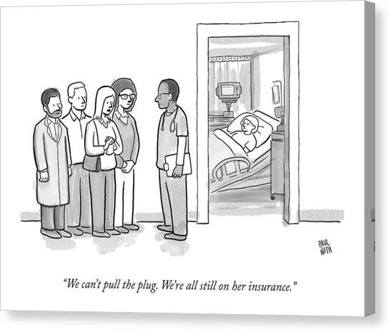 Health Insurance Canvas Print - A Group Of People Talk To A Doctor by Paul Noth
