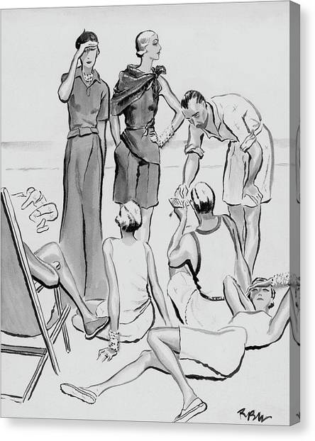 A Group Of Young People On The Lido Beach Canvas Print