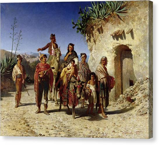 Mandolins Canvas Print - A Gypsy Family On The Road, C.1861 Oil On Canvas by Achille Zo