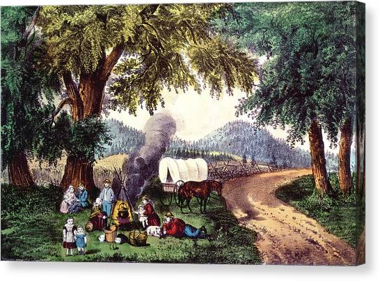Currier And Ives Canvas Print - A Halt By The Wayside  by Currier and Ives