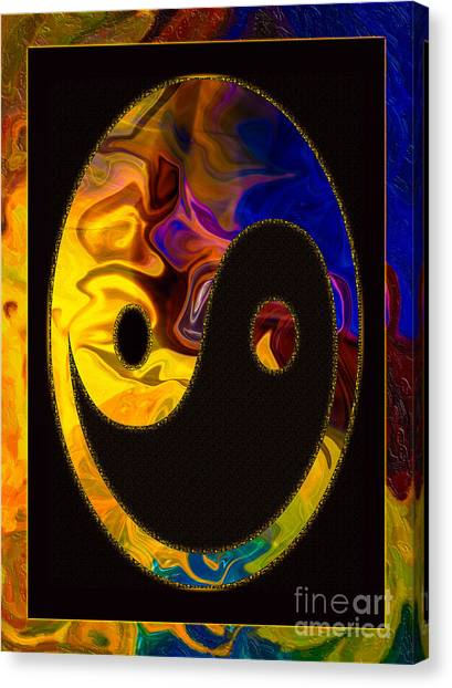 Canvas Print featuring the digital art A Happy Balance Of Energies Abstract Healing Art by Omaste Witkowski