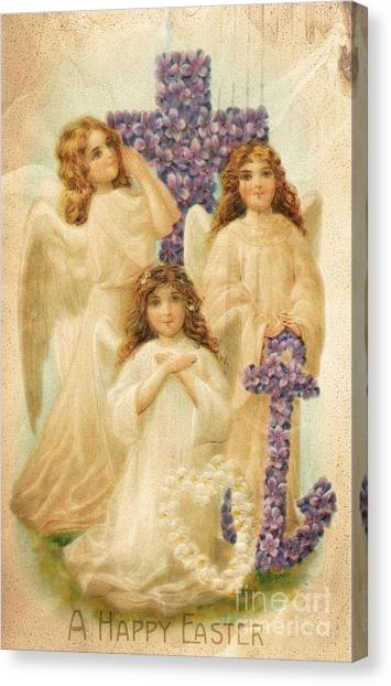 A Happy Easter 1908 German Postcard Canvas Print