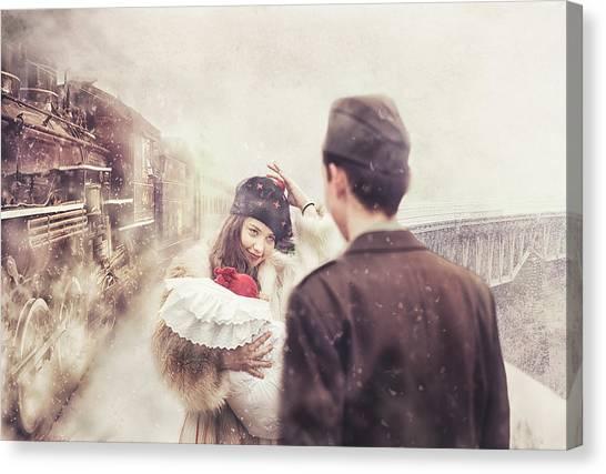 Locomotive Canvas Print - A Happy Homecoming by Stanislav Hricko