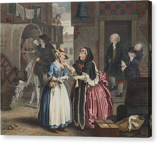 Harsh Conditions Canvas Print - A Harlots Progress, Plate I by William Hogarth