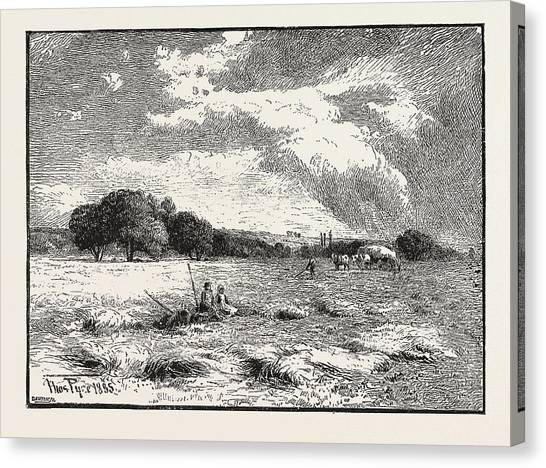 Marlow Canvas Print - A Hayfield At Marlow by English School